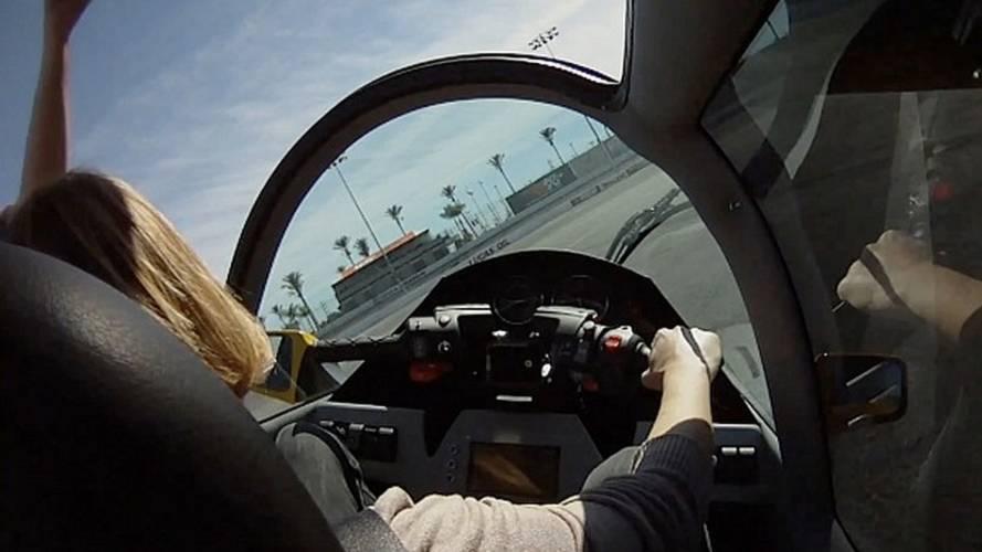 Susan Carpenter crash tests Peraves e-Tracer