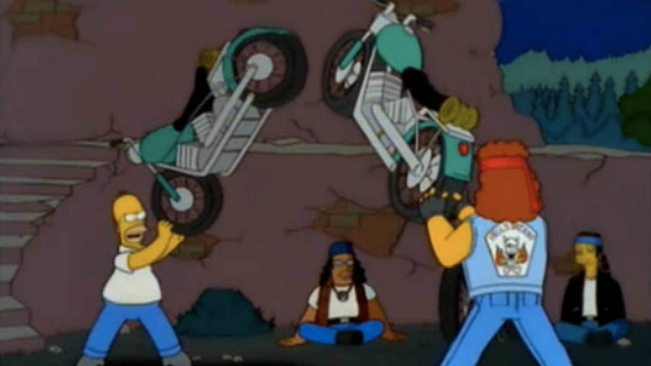 Simpson and Hell's Satans president Meathook duke it out over Simpson's Wife.