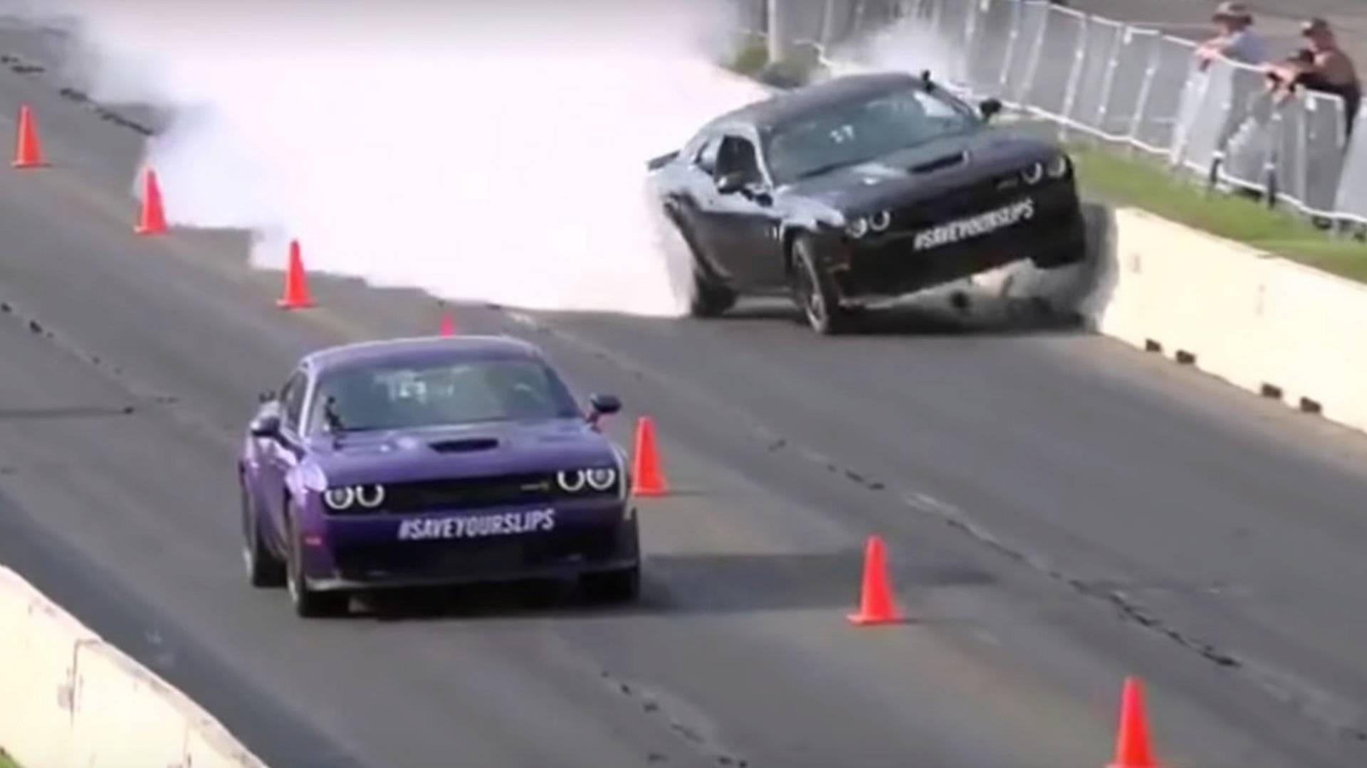 Watch Gas Monkey's Richard Rawlings Crash A Hellcat Into A Wall