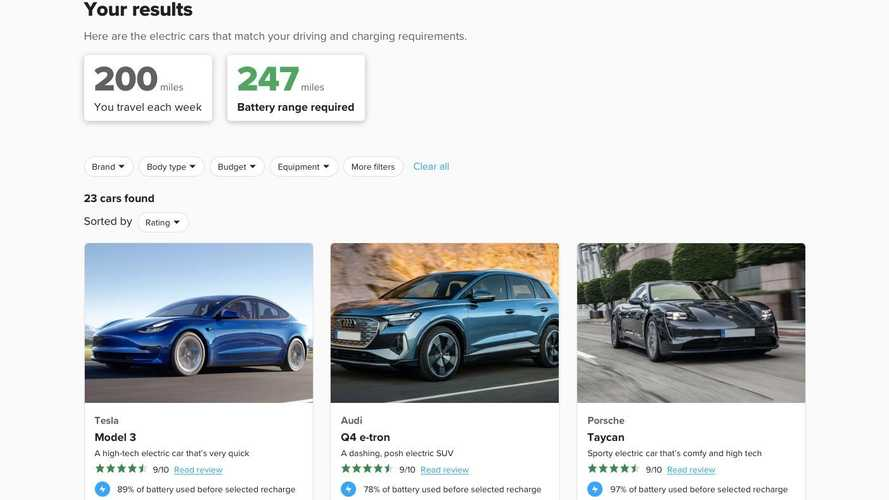 Carwow's Range Calculator Will Help Find The EV You Need