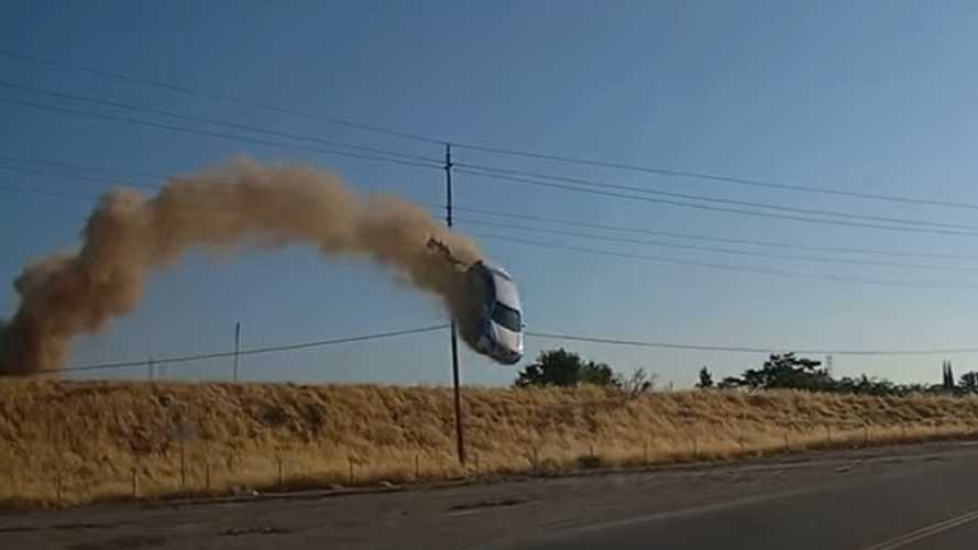 Wild Car Jump In California Sees Driver Escape With Minor Injuries