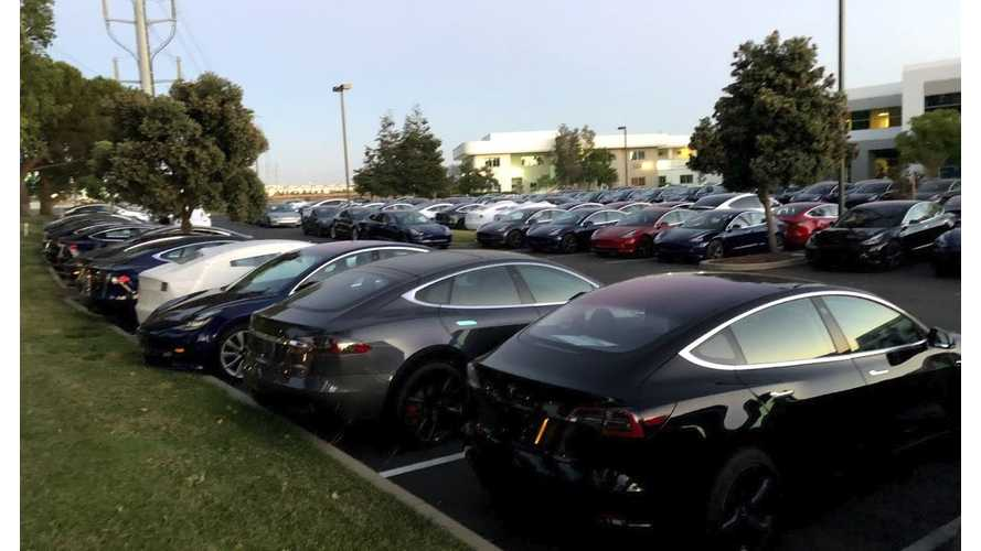 UPDATE - VIDEO - Check Out This Lot With 1,000 Teslas, Mostly All Model 3