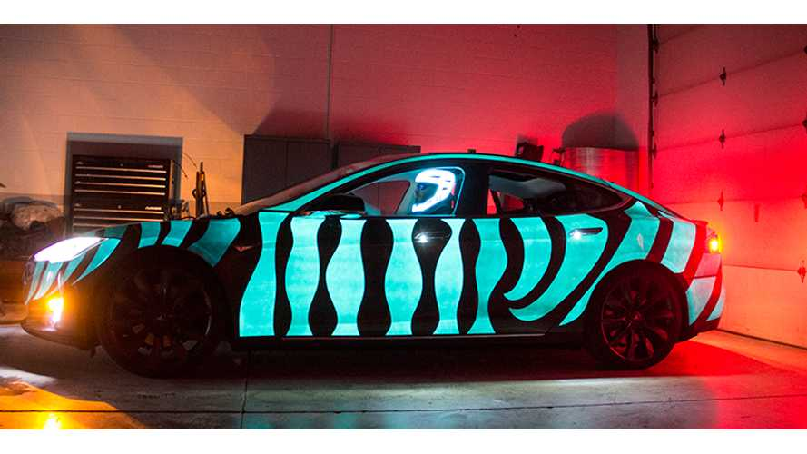 Light Up Your Tesla Model S With Electroluminescent Paint - Video