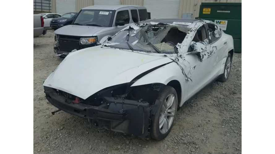 Turns Out That Salvaged Tesla Might Not Have A Battery Pack