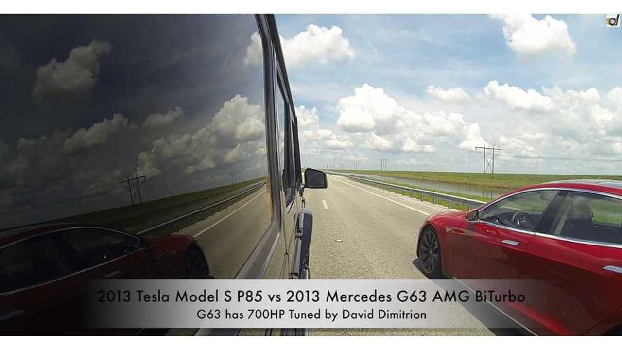 Tesla Model S Vs. Mercedes G63 AMG - Drag Times
