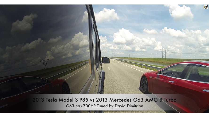 2013 Tesla Model S P85 vs 700HP 2013 Mercedes G63 AMG BiTurbo - Video