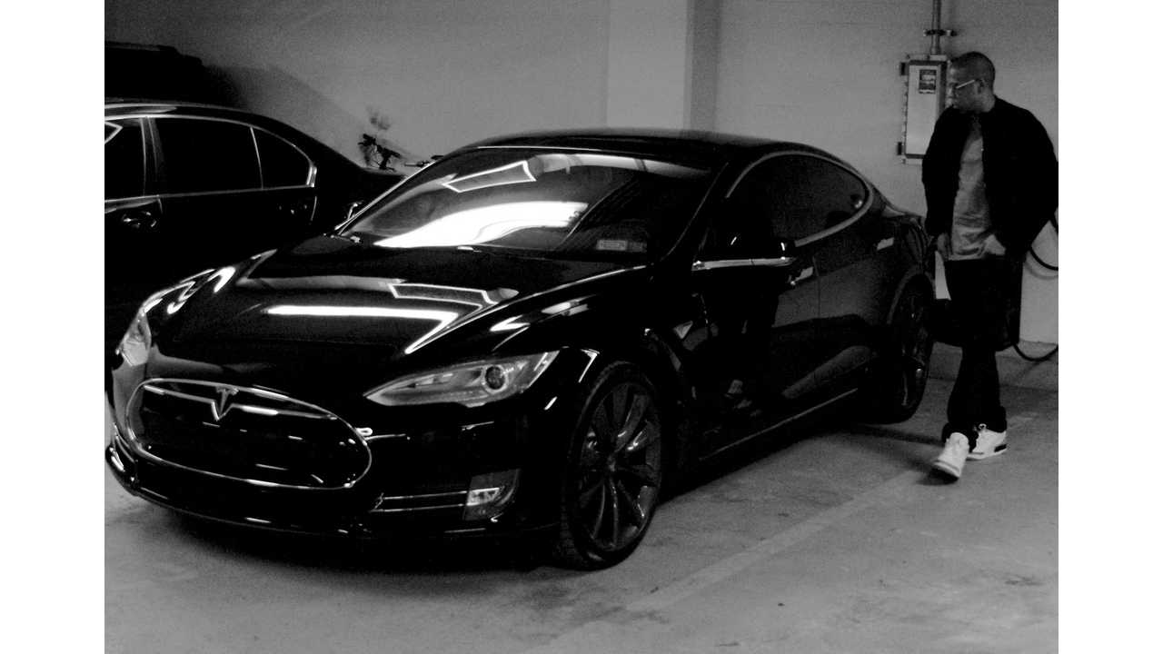Jay Z Caught Checking Out His New Tesla Model S