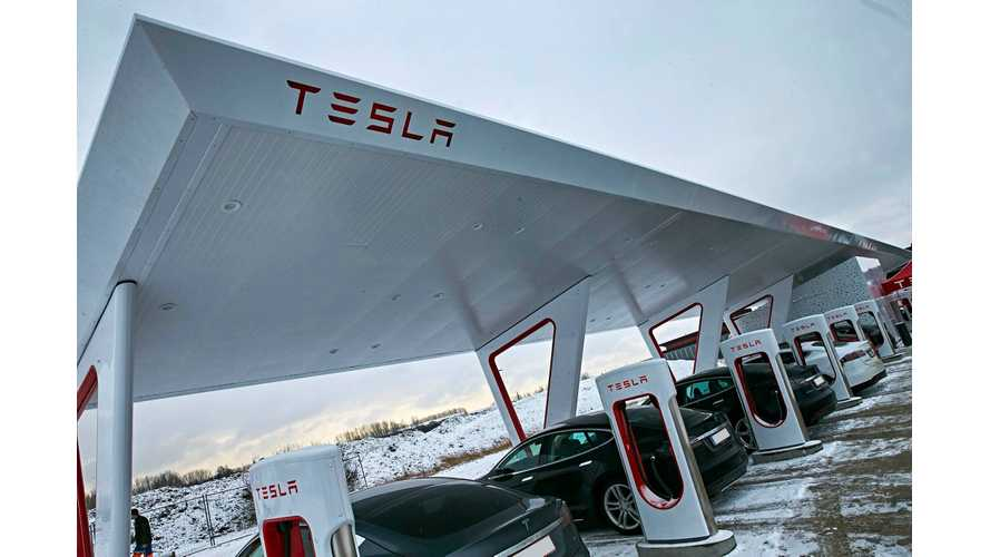 Tesla Opens Europe's Largest Supercharger Station - First In Europe With Solar Canopy
