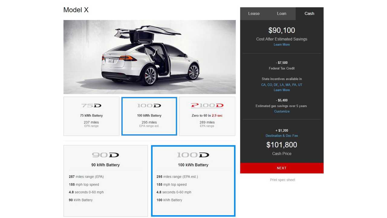 Tesla Model X 100D Now Available - 295 Miles Of Range, Priced From $98,500