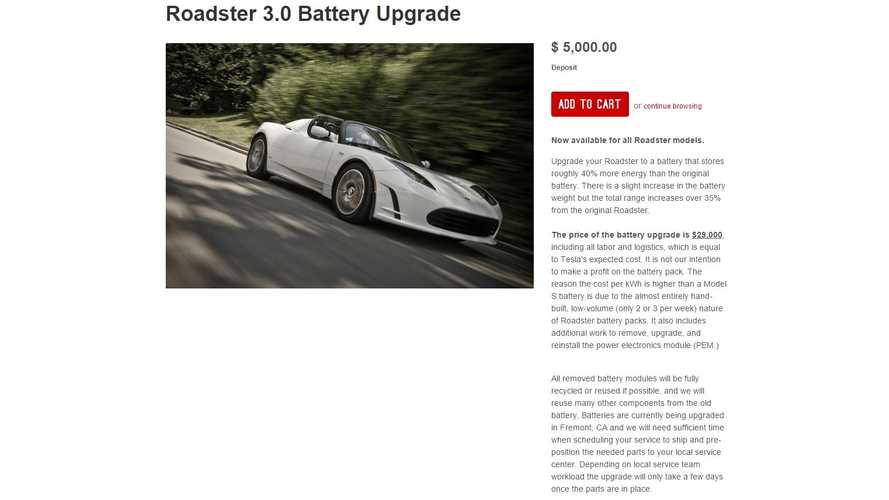 Tesla Expands Roadster Battery Upgrade To Include Early 1.5 Models