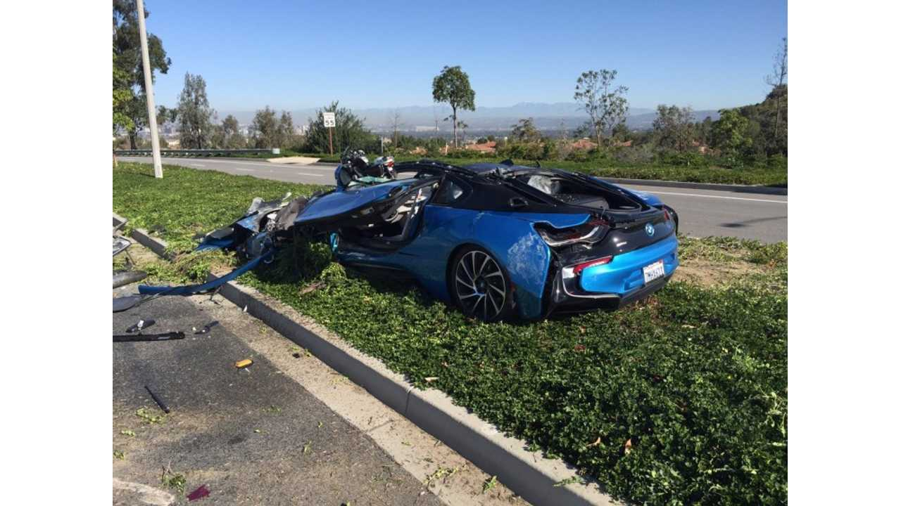 BMW i8 Crushed By Cement Truck