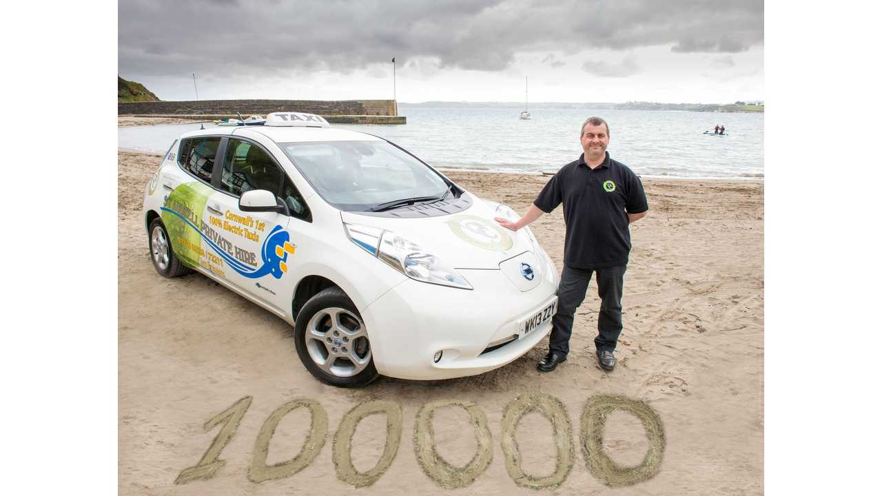 The Nissan LEAF that sparked an electric taxi revolution in Cornwall has clocked up its 100,000th