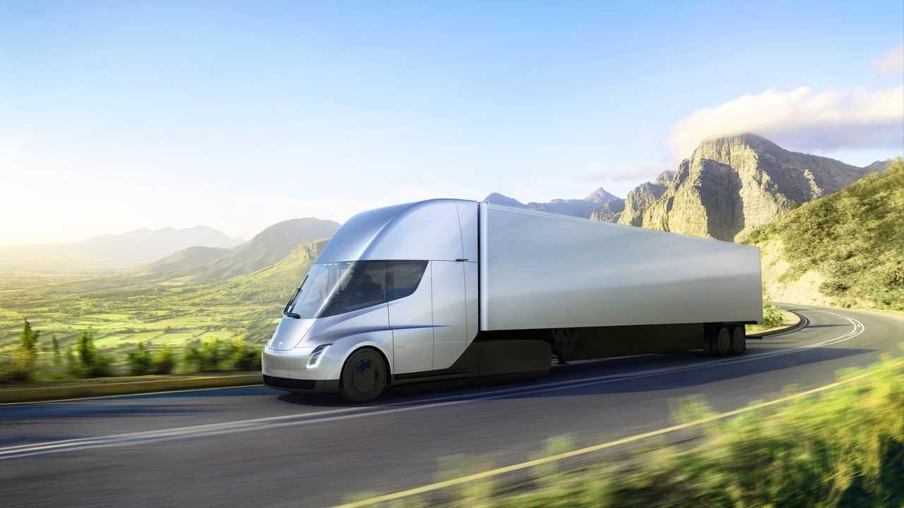 Tesla Semi exterior trailer driving