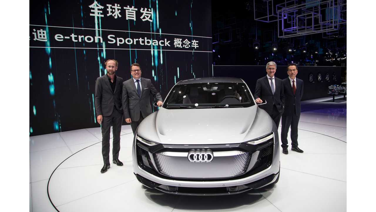 (from left to right) Marc Lichte (Head of Design, AUDI AG), Dr. Dietmar Voggenreiter (Member of the Board of Management of AUDI AG for Sales and Marketing), Rupert Stadler (Chairman of the Board of Management of AUDI AG) and Zhang Pijie (Member of the Board of Directors)