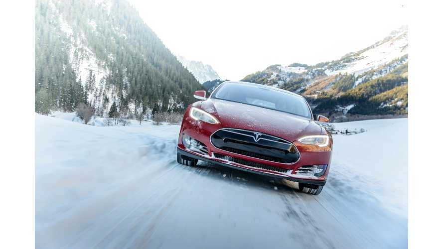 Slow-Motion Video Of Tesla Model S 85D Acceleration On Snow