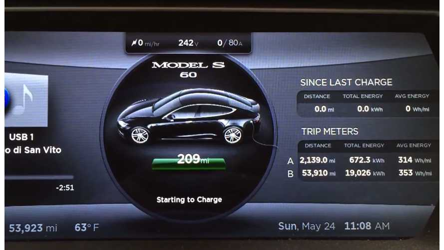 Tesla Model S Gains Range After Firmware Updates and A Month Of Max Charging - Videos