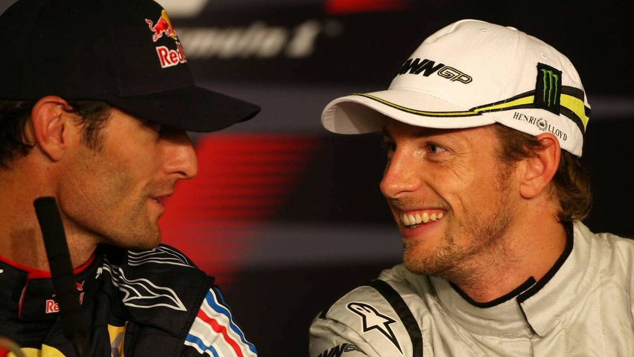 Mark Webber (AUS), Red Bull Racing, Jenson Button (GBR), Brawn GP, German Grand Prix, Saturday Press Conference, 11.07.2009 Nürburg, Germany