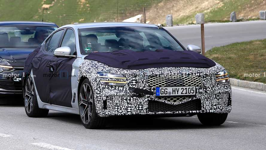 2022 Genesis G70 Sedan Spied Showing Its Big-Grin Facelift