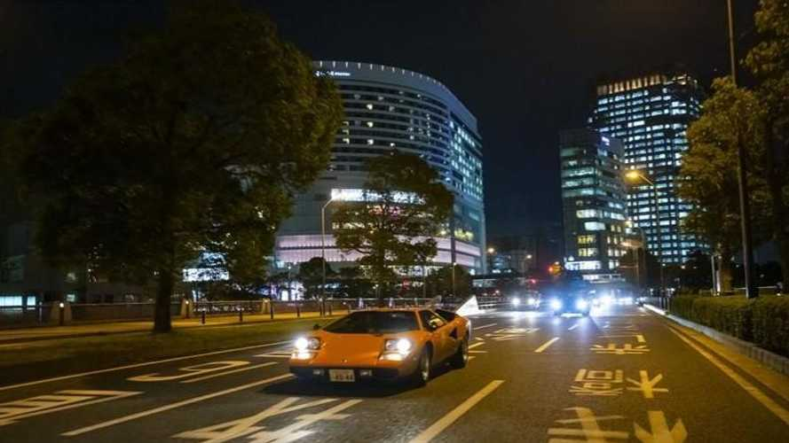 Historic Lamborghinis parade through Yokohama