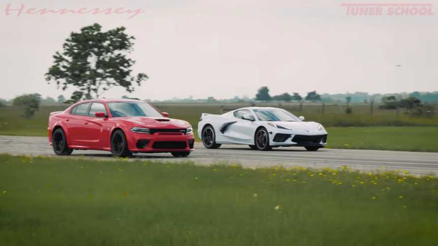 See 2020 Corvette C8 Fights Charger Hellcat At Hennessey's Drag Strip