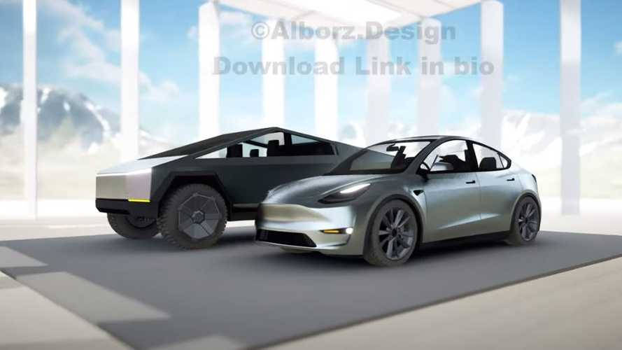 See Stainless Steel Tesla Model Y Next To Cybertruck: Pickup Makes Y Seem Tiny