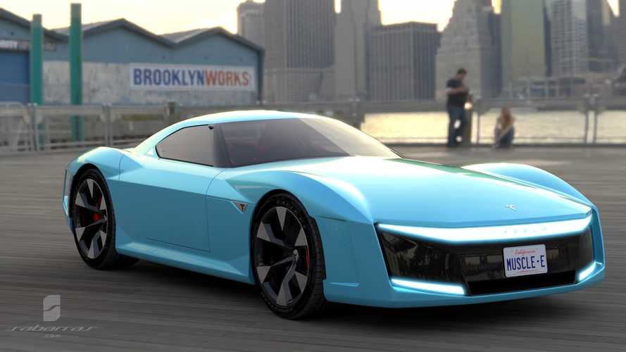 Tesla Muscle Car Renderings Imagine Roadster's Big Brother