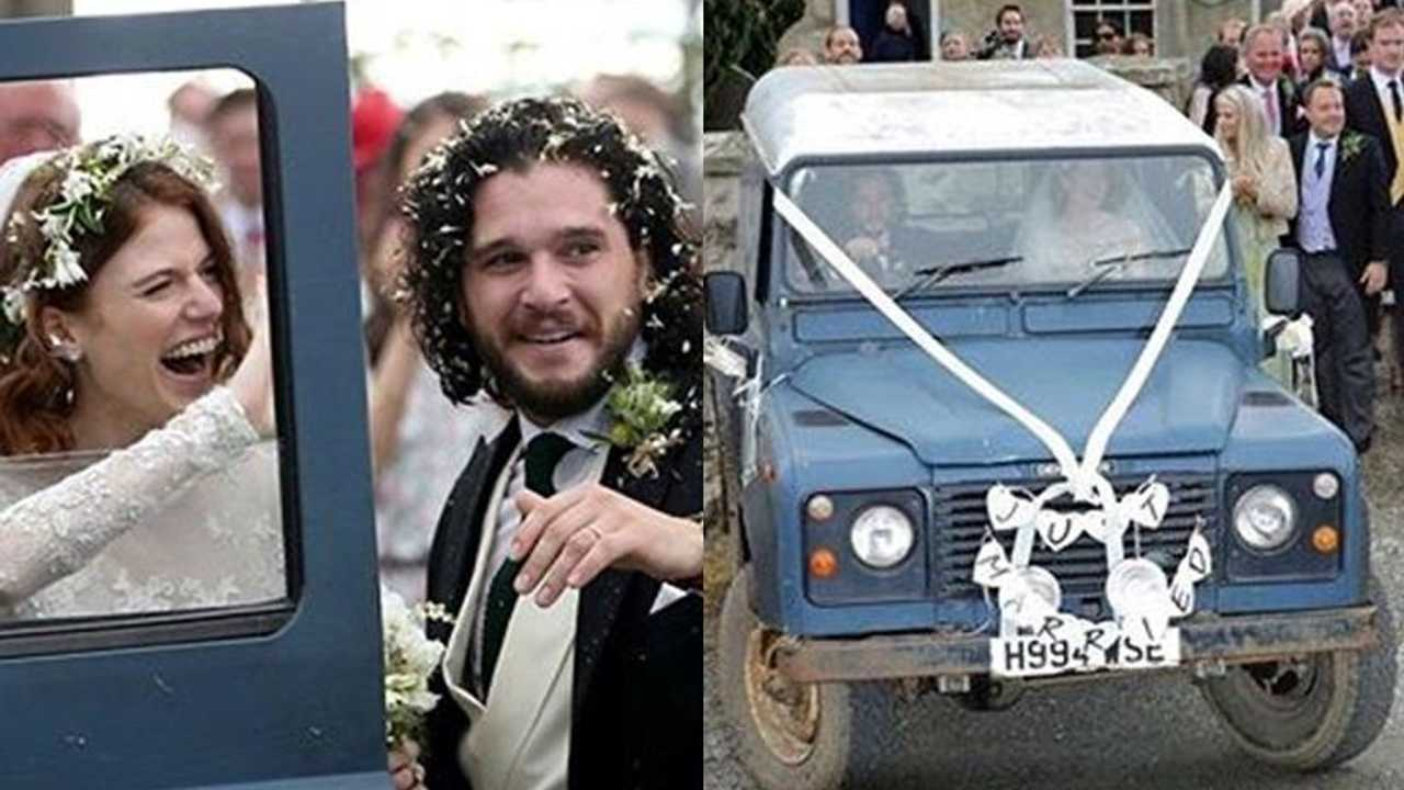 This is Kit Harington and Rose Leslie's Land Rover wedding car