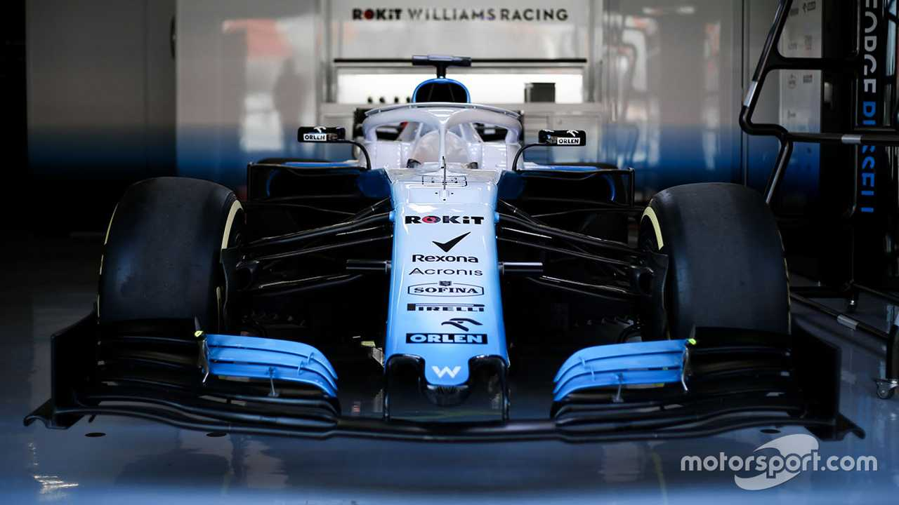 Williams FW42 in the garage at Barcelona Feb testing 2019