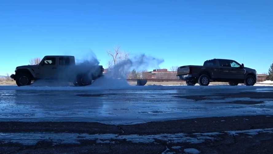 Jeep Gladiator And Ford F-250 Tug-Of-War Ends How You'd Expect
