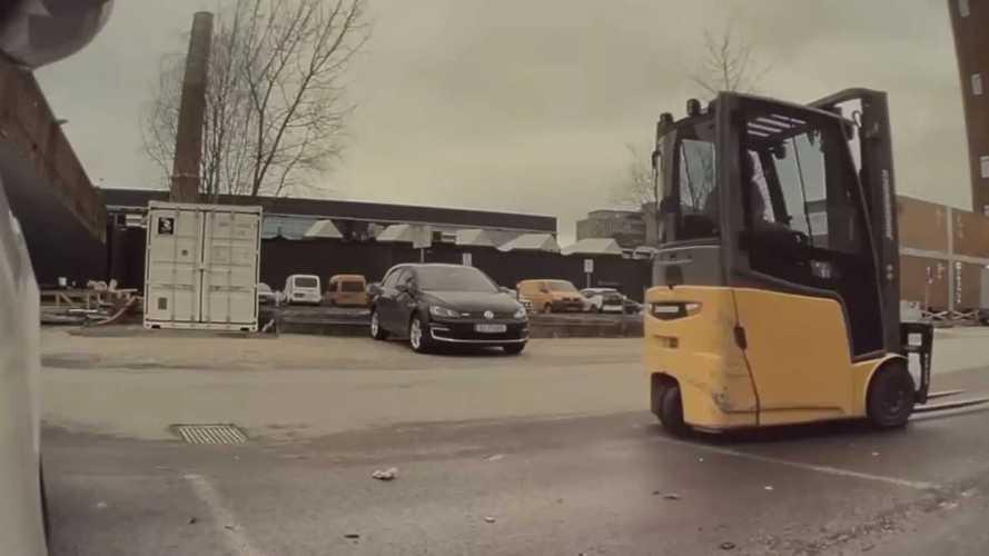 Forklift Hits Model S