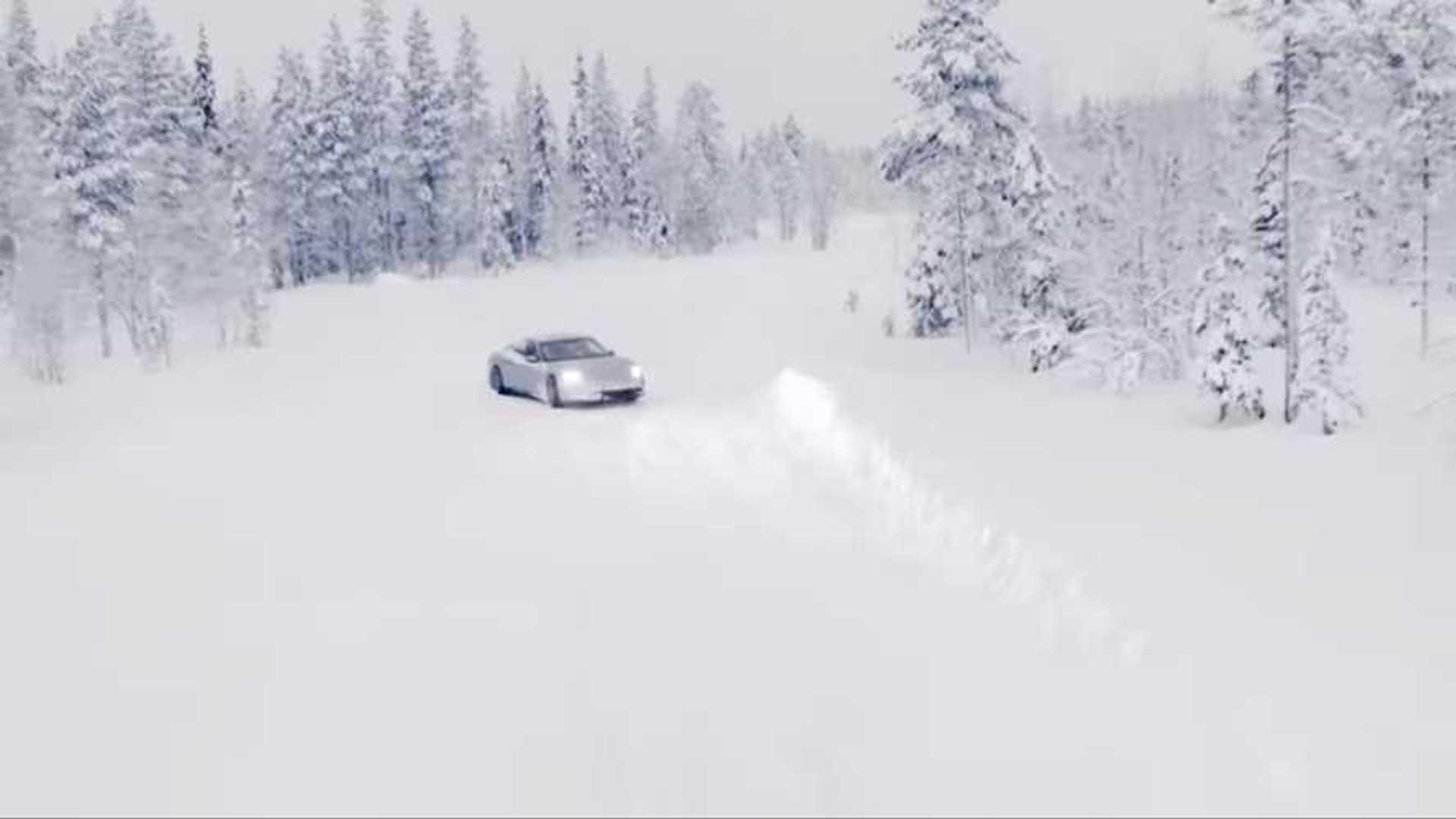 Porsche Taycan In Snow