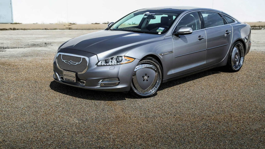 The elegant Jaguar XJL looks awkward with blingy wheels and front grille