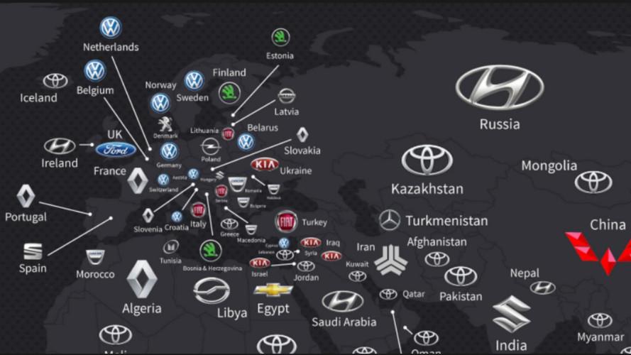 Marcas mais vendidas por país em 2016