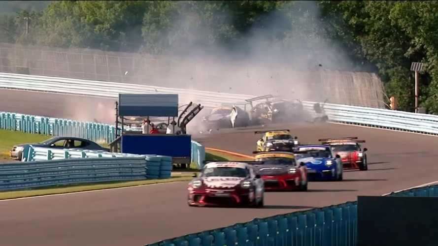 Porsche GT3 Cup Race Abandoned After Huge 9-Car Pile-Up