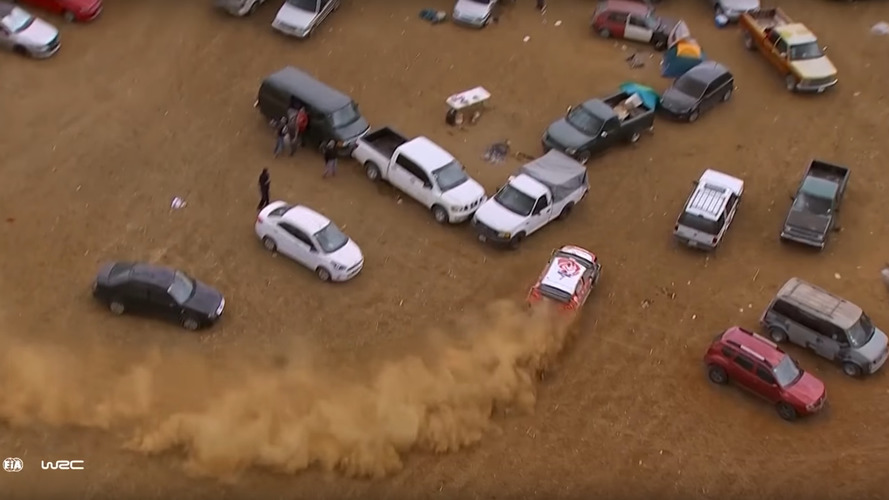 British WRC driver takes detour through car park, still wins