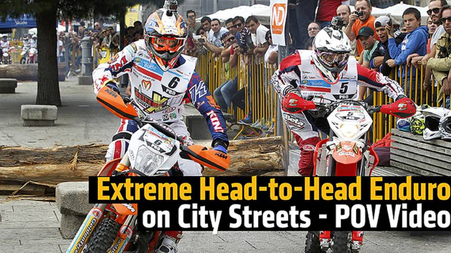 Extreme Head-to-Head Enduro on City Street - POV Video