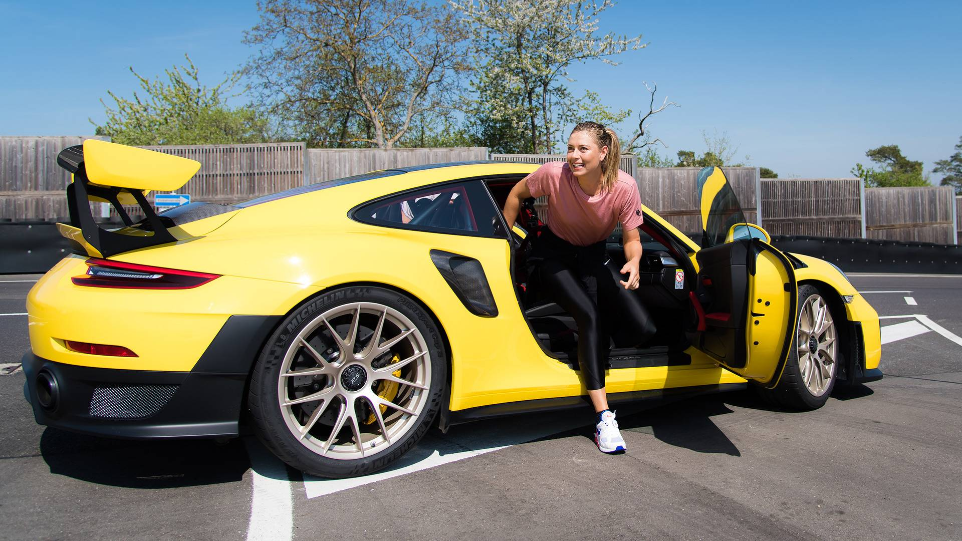 Maria Sharapova Mark Webber Hit The Track In Porsche 911 Gt2 Rs