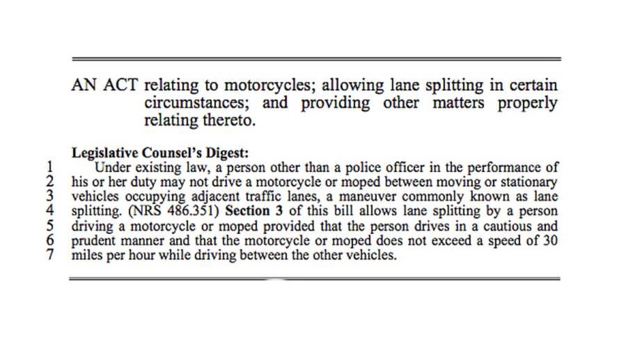 Nevada could allow lane splitting