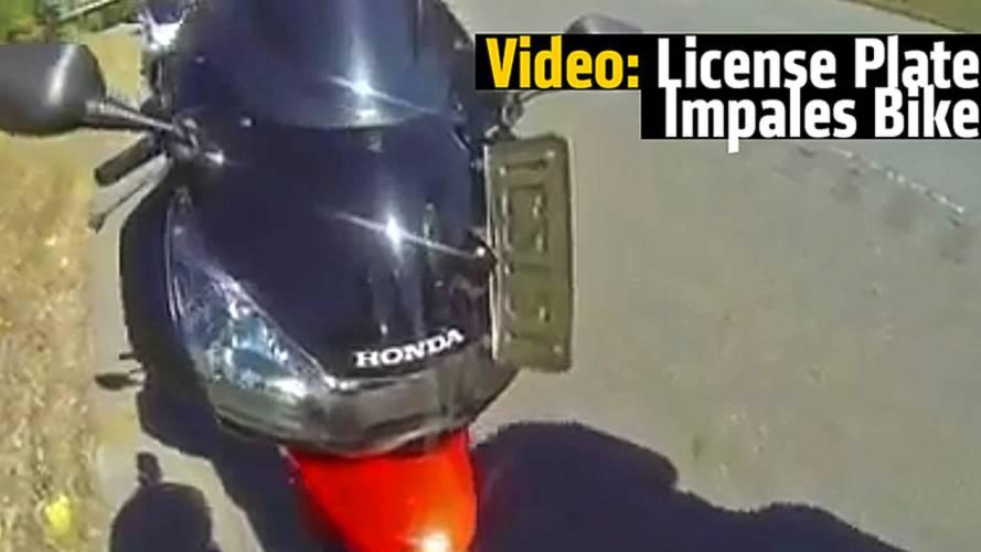 Video: License Plate Impales Bike