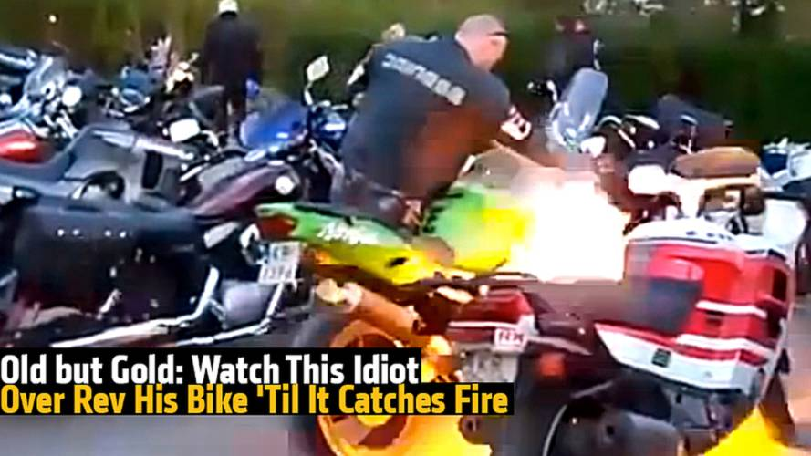 Old but Gold: Watch This Idiot Over Rev His Bike 'Til It Catches Fire