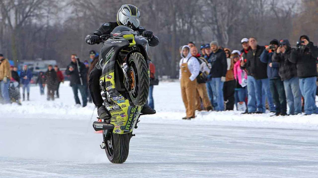 Watch the 117 mph Guinness World Record Wheelie on Ice