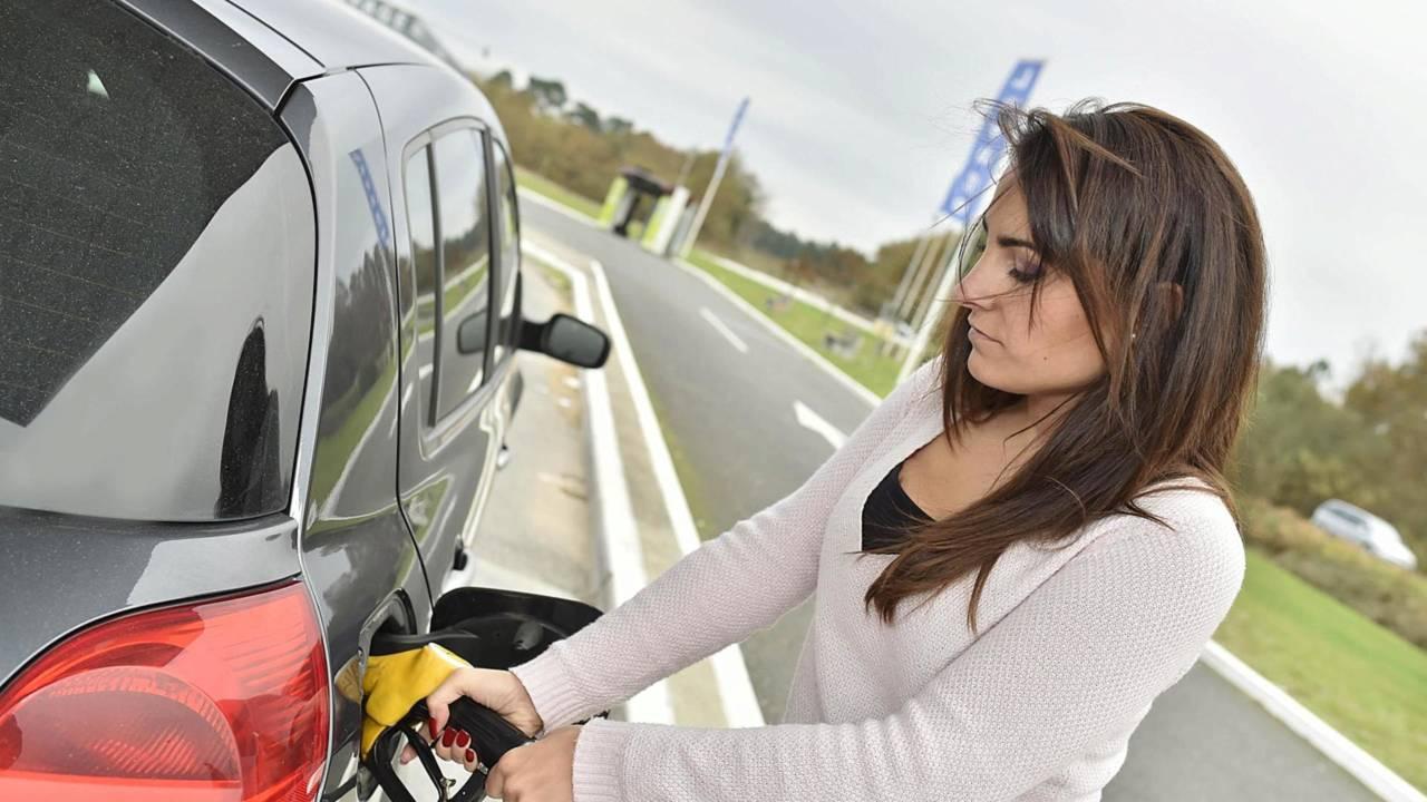 Petrol station woman