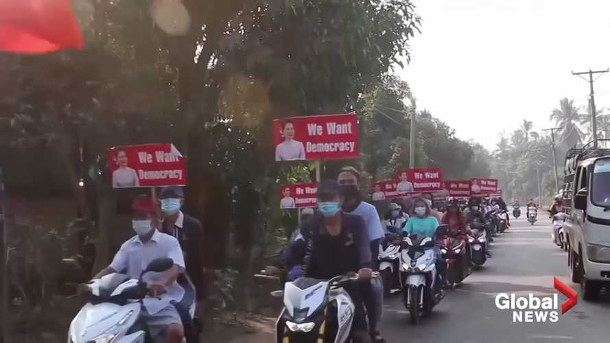 Myanmar Protesters Ride Through The Streets On Motorbikes
