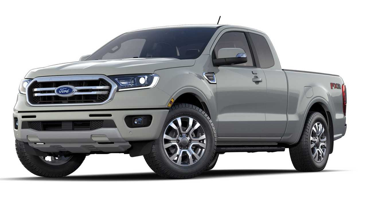 The 2021 Ford Ranger Lariat in Cactus Gray.
