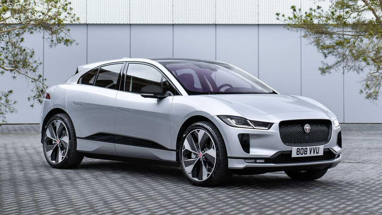 jaguar i-pace black in silver front three-quarters