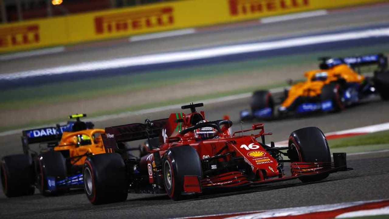 Charles Leclerc, Ferrari SF21, Lando Norris, McLaren MCL35M, and Daniel Ricciardo, McLaren MCL35M