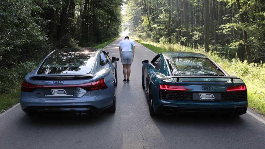 Audi RS E-Tron GT Drag Races R8 In Future Vs Past Showdown
