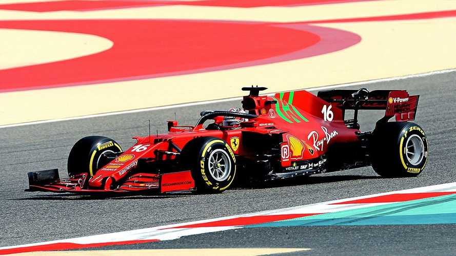 Sainz y Leclerc estrenan el Ferrari SF21 en un 'filming day' en Bahrein