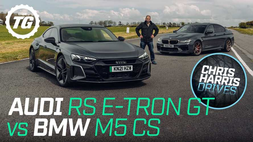 Chris Harris compares Audi RS E-Tron GT to BMW M5 CS on track