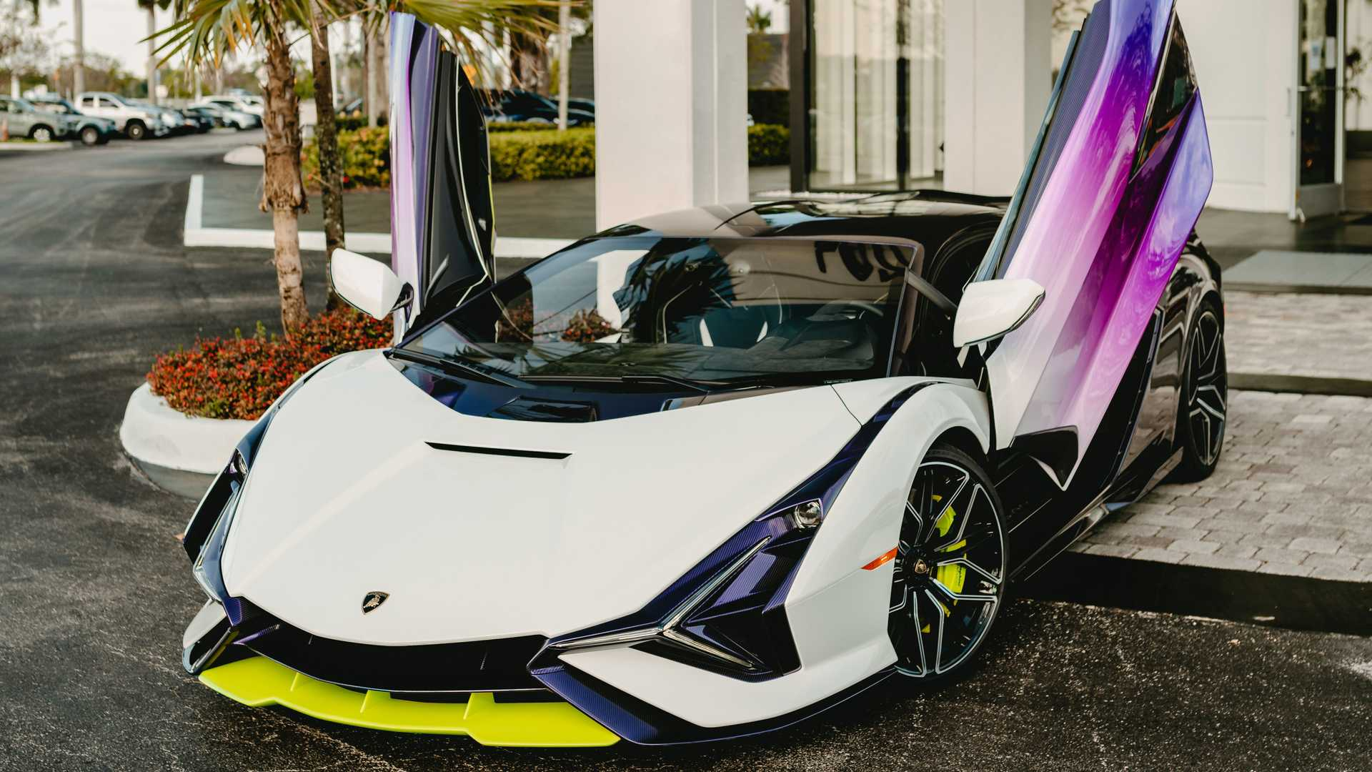 Lamborghini Sian In Purple, Green, And White High Angle Door Up Photo By Juan Pablo Saenz